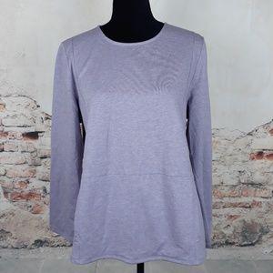 Pure J Jill L Heather Purple Pima Pocket Shirt